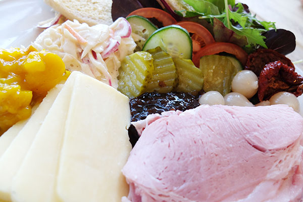 photo of a cheese & ham ploughmans lunch