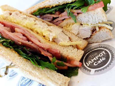 The Jampot bacon club sandwich