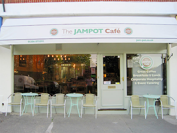 An exterior photo of the refurbished Jampot Cafe Dorking