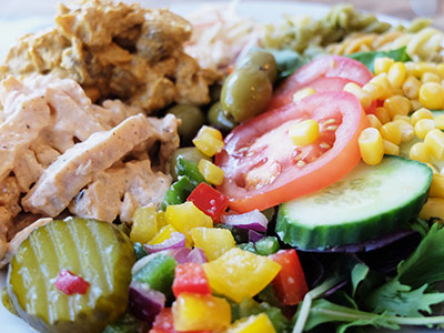 build your own salad at the Jampot Café