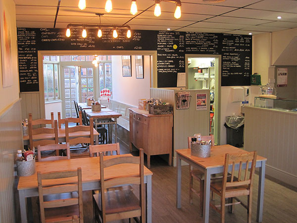 A photo of the recently refurbished Jampot Cafe, looking towards the back